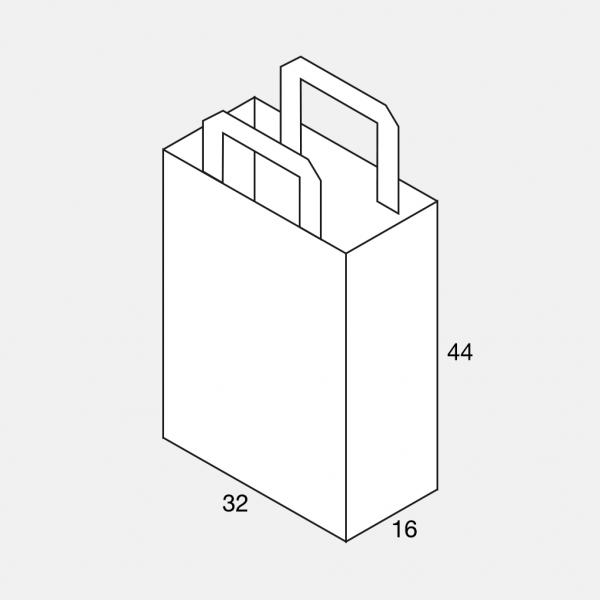 Flachhenkeltasche 32+16x44