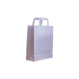 Flachhenkel papiertasche weiß 22+10x28