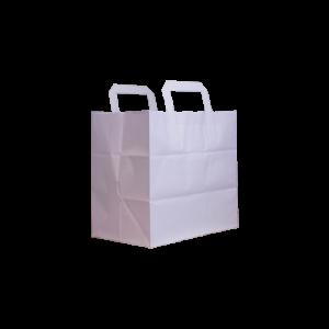 Flachhenkel papiertasche weiß 26+17x25
