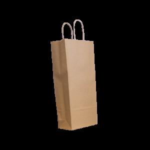 Flaschentasche Papierkordeltasche braun 18+8x39