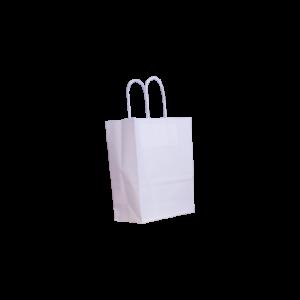 Papierkordeltasche weiß 18+8x22
