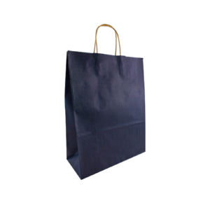 Dunkelblaue Papierkordeltasche Maße 26+12x35