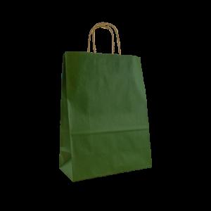 Dunkelgrüne Papierkordeltasche Maße 26+12x35